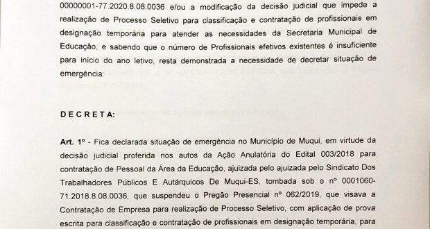Decreto de Estado de Emergência na Educação no município de Muqui