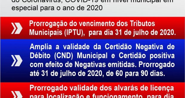O Municipio de Muqui buscando mitigação dos impactos econômicos da pandemia do coronavírus, prorroga os vencimentos dos tributos municipais para 31 de julho de 2020